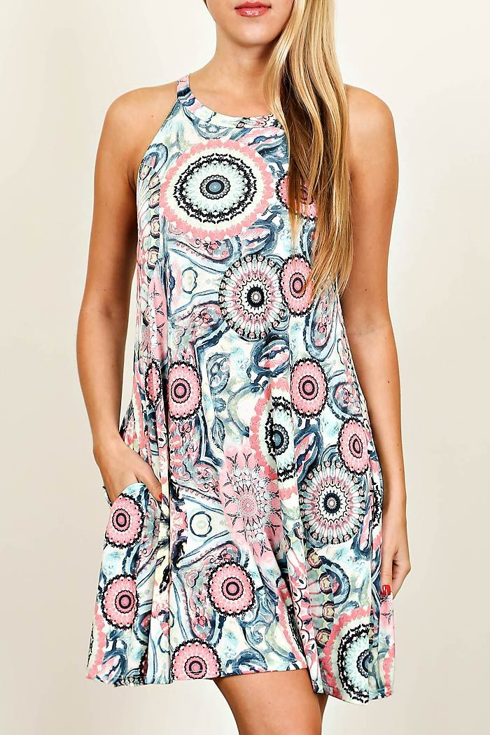69f120c672cc0 Multi Color Medallion Print Sleeveless Trapeze Knit Dress 92% Polyester 8%  Spandex Made In