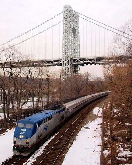 M024 George Washington Bridge (NY Side Span) over Amtrak Railroad Tracks, Fort Washington Park, New York City, via Flickr.