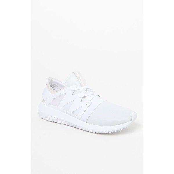 adidas Women's White Tubular Viral Sneakers via Polyvore featuring shoes, sneakers, white trainers, cage shoes, adidas trainers, white sneakers and white lace up sneakers