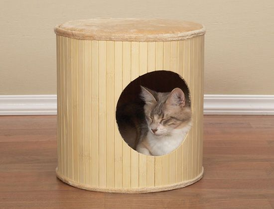 Meow Town Bamboo Kitty Hut Indoor Dog Houses Ottoman