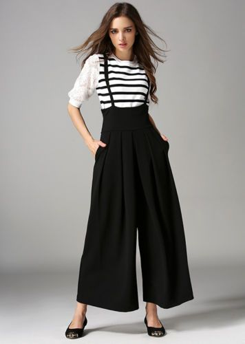 New Women Casual Pleated High Waisted Wide Leg Palazzo Pants Suspenders  Trousers Tirantes Mujer 03d011d1c04d