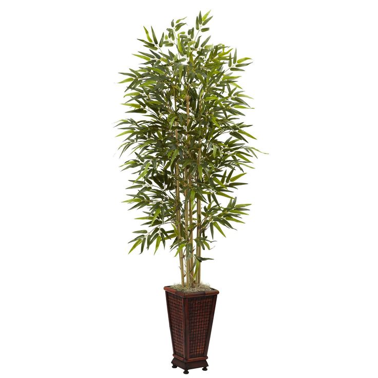 Nearly Natural 6-foot Bamboo Tree with Decorative Planter (6' Bamboo Tree w/Decorative Planter), Green (Polyester)