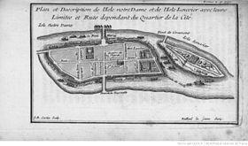 Ancien plan de l'île Notre-Dame (actuelle île Saint-Louis) et de l'île Louviers.