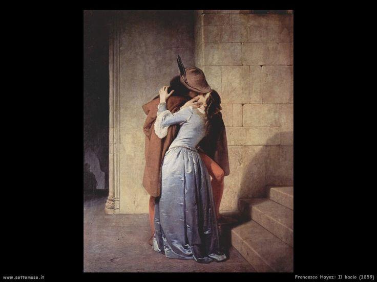 """""""Il bacio"""", Francesco Hayez, 1859; olio su tela, 112x88 cm; fu commissionato da Alfonso Maria Visconti di Saliceto, il quale al momento della propria morte decise di donarlo alla Pinacoteca dell'Accademia di Brera, dove è tuttora conservato."""