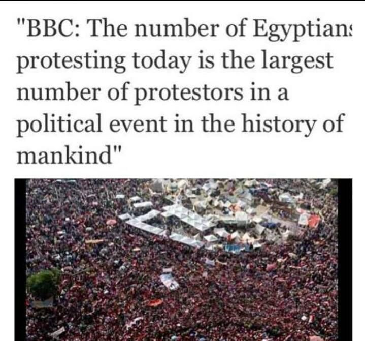 The largest number of protesters in a political event in the history of mankind