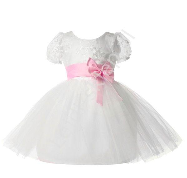 Sukienka z tiulem i różowową kokardą  dziewczęca sukienka   sukienki dla…