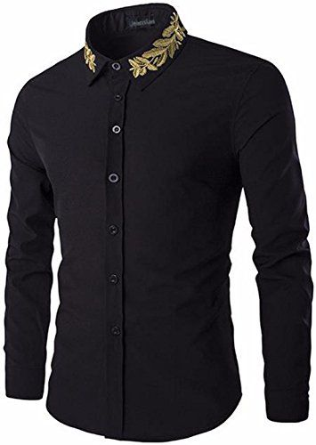 jeansian Men's Gold Leaf Embroidery Long Sleeves Shirts 8...…