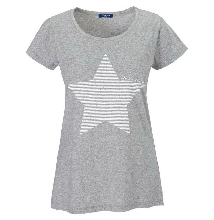 grau meliertes t shirt mit gestreiftem stern print shirt. Black Bedroom Furniture Sets. Home Design Ideas