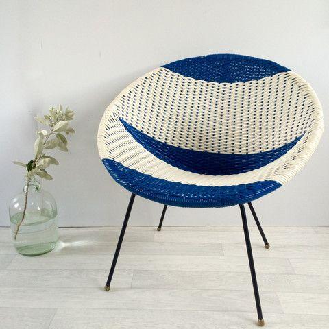 A Vintage Satellite Atomic Scoubidou Chair - Chaise annees 50 en plastique tressé