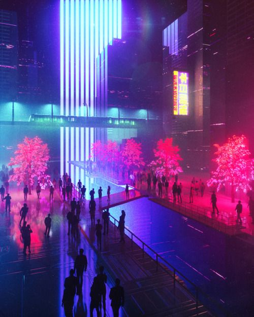 Cyberpunk City Street, With Glowing Purple Trees, And Neon