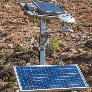 A recently installed solar radiation meter and panel on Tilos.