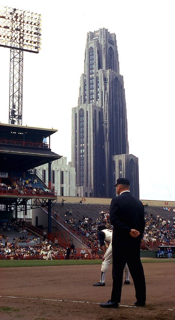 Forbes Field Pittsburgh PA, 1960 World Series. I go to Pitt! Right in that building there! No baseball feild there anymore.