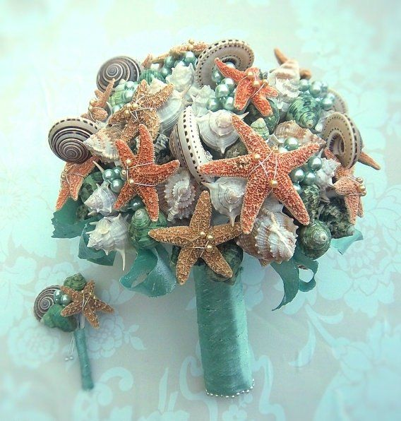 seashell bridal bouquet turqoise pearls