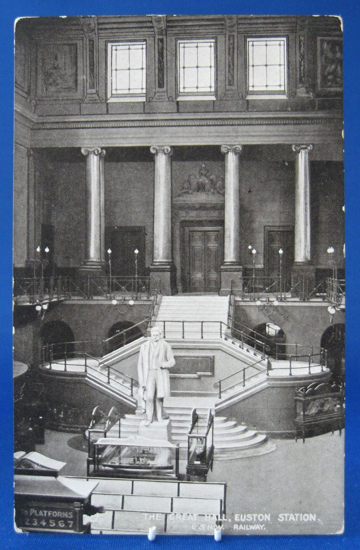 Railroad Postcard Real Photo L&NW Great Hall Euston Station London 1890s