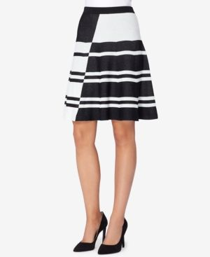 Catherine Catherine Malandrino Striped A-Line Sweater Skirt - Black XL