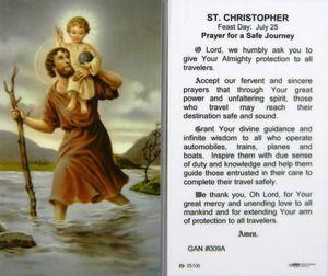 St Christopher Prayer for a Safe Journey Laminated Holy ...