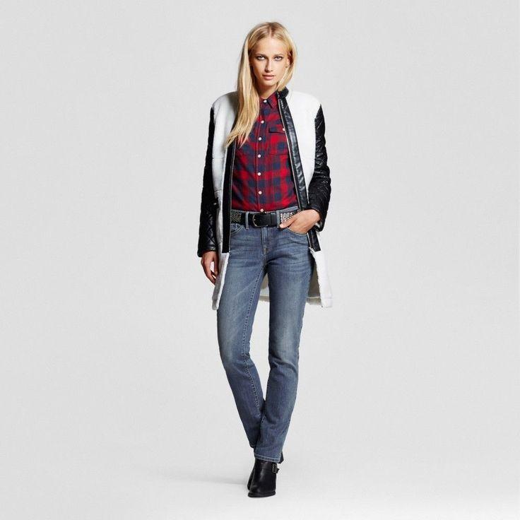Women's Mid-rise Straight Leg Jeans (Curvy Fit) Medium Wash 0 Short - Mossimo