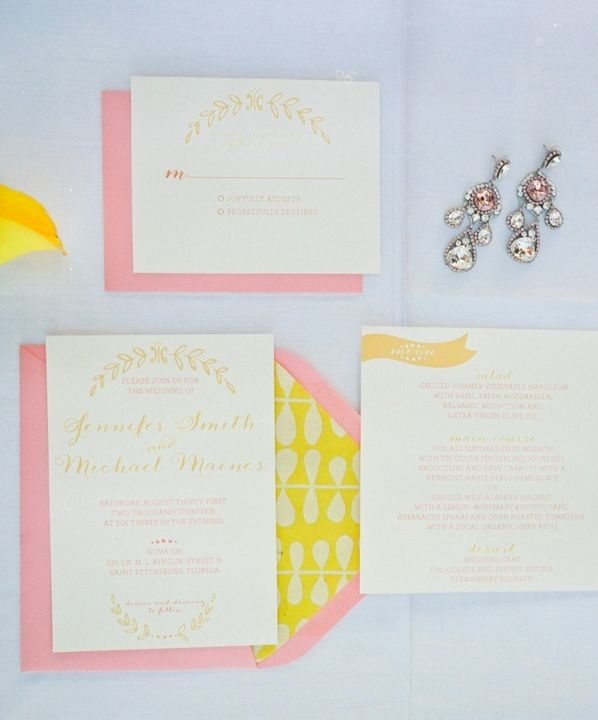Pink and yellow wedding invitations // photo by http://carolineevan.com, invitation by http://sdinvites.com, via http://theeverylastdetail.com/modern-pink-and-yellow-wedding-ideas