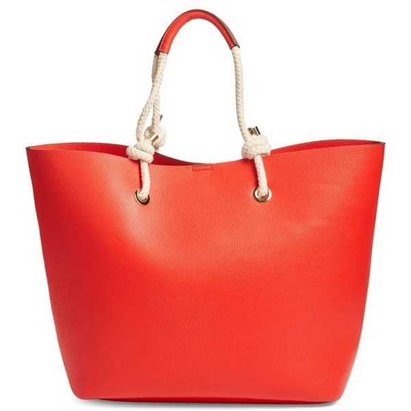 Women's Phase 3 Rope Handle Faux Leather Tote ($75) ❤ liked on Polyvore featuring bags, handbags, tote bags, red bloom, red tote bag, vegan leather tote, red purse, red handbags and faux leather tote bag