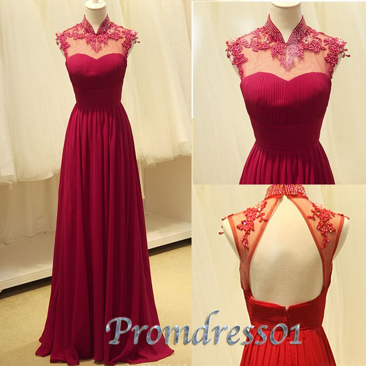 2015 Cute wine red chiffon A-line open back long junior prom dress