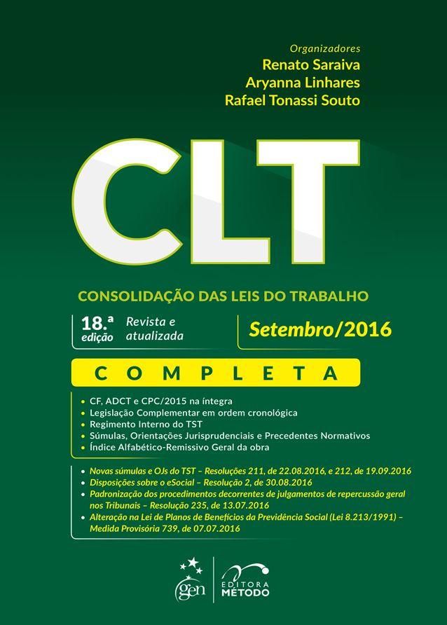 Consolidação das Leis do Trabalho CLT (2016)