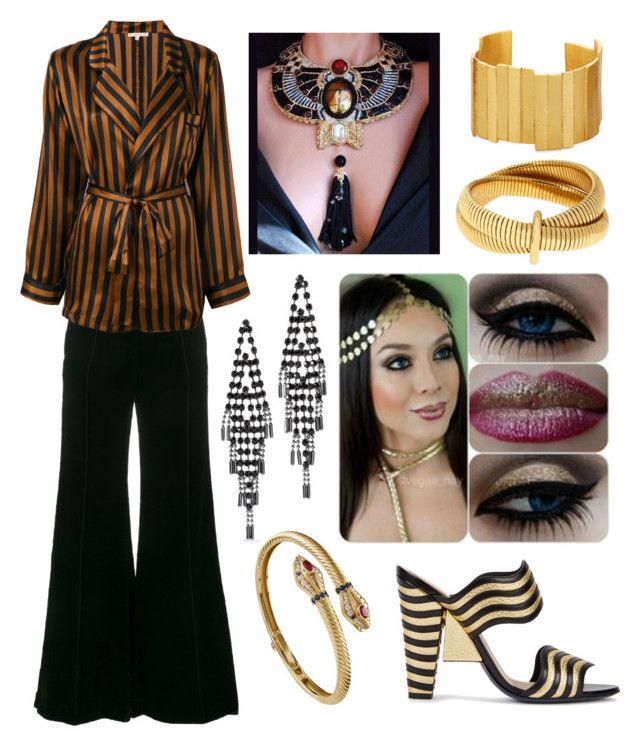 """Egyptian Outfit"" by hellenrose7292 on Polyvore featuring Fendi, Racil, Gold Hawk, White House Black Market, Diane Von Furstenberg, AZZA FAHMY and Stephanie Kantis"