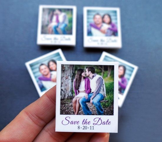 so simple! save the date mini polaroids that are magnets!