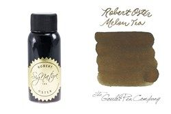 A 2ml sample of Robert Oster Melon Tea fountain pen ink, in a labeled plastic vial.