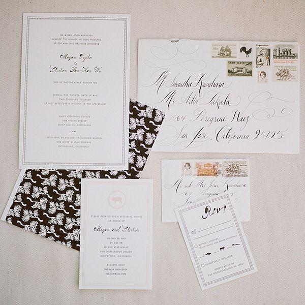 Classic wedding stationery from #MrBoddington and calligraphy by #TaraJonesCalligraphy.  Photo: Meg Smith