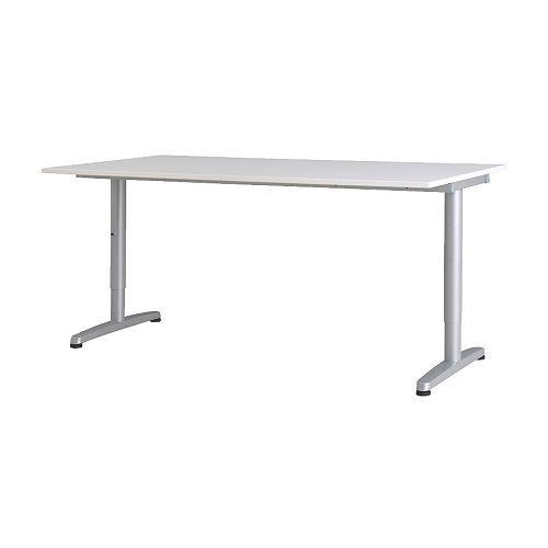GALANT Scrivania - bianco, gamba a T, color argento  - IKEA