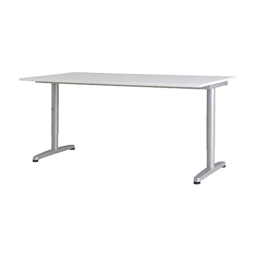 GALANT Schreibtisch - weiß, T-Bein, silberfarben  - IKEA