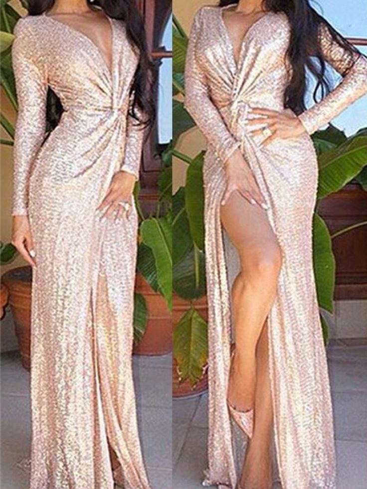Rose Gold Long Sleeve Deep V Slit Sequined Maxi Dress