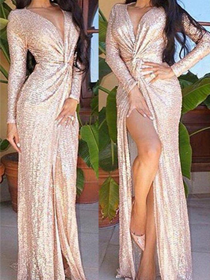 Rose Gold Long Sleeve Deep V Slit Sequined Maxi Dress