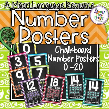 Number Posters for the New Zealand Classroom,  These posters feature the numbers 0-20 in Maori (with option of English translation).  Each poster has the number, number word and a tens frame to show the number.