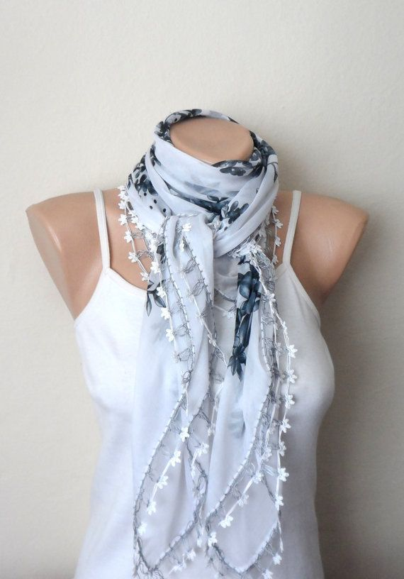 white gray scarf floral print scarf yemeni scarf oya scarf