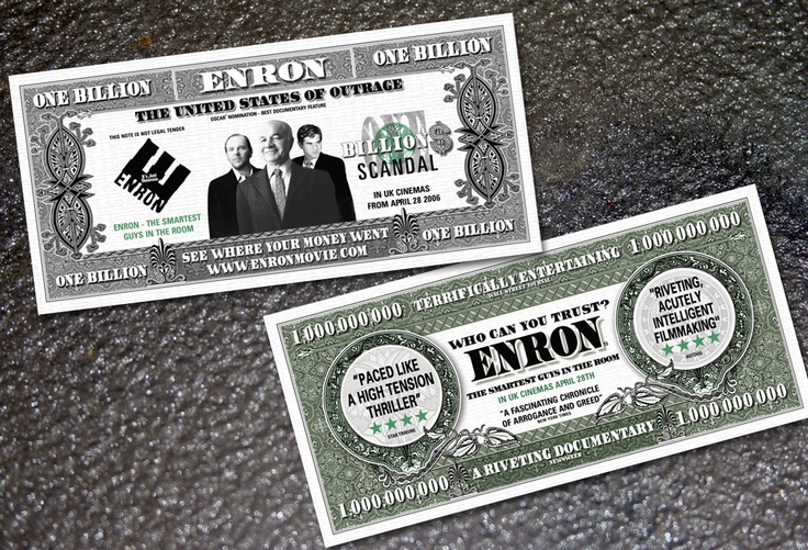"""Lionsgate Films """"Enron"""" movie, promotional literature. Enron: The Smartest Guys in the Room is a documentary film based on the best-selling book of the same name by Fortune reporters Bethany McLean and Peter Elkind, a study of one of the largest business scandals in American history."""