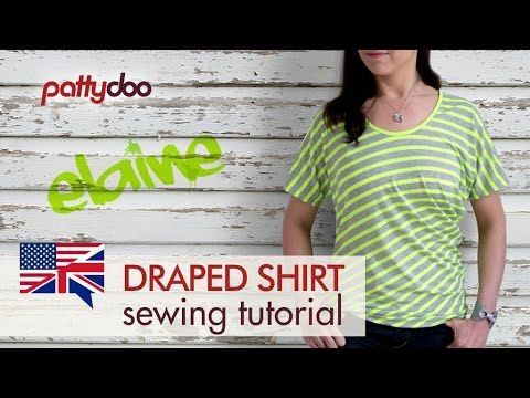 How to Sew a T-Shirt with Striped Fabric and Draping - A Beginners' Sewing Tutorial - YouTube