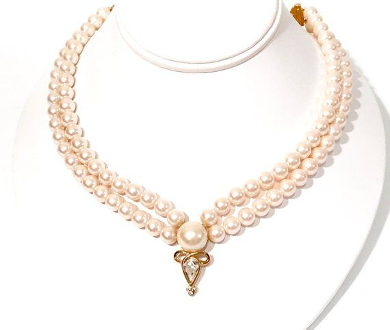 Richelieu Pearl Necklace Double Strand Gold Tone Crystal Drop