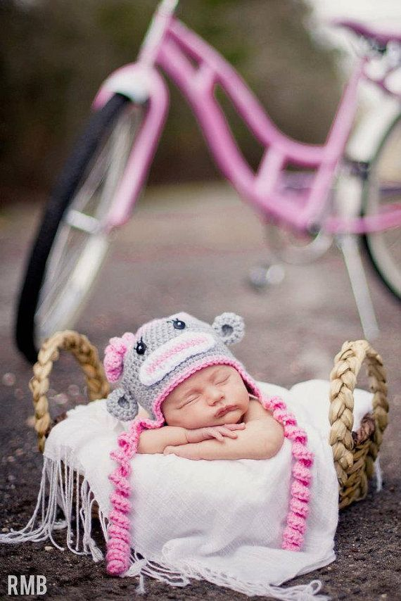 Gray and Pink Sock Monkey Hat, Baby Girl Winter Hat, Crochet Hat, Spiral Ties, Photo Prop via Etsy