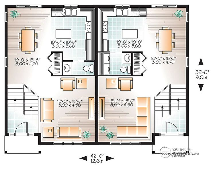 Multi family plan w3062 detail from for Multiplex plans
