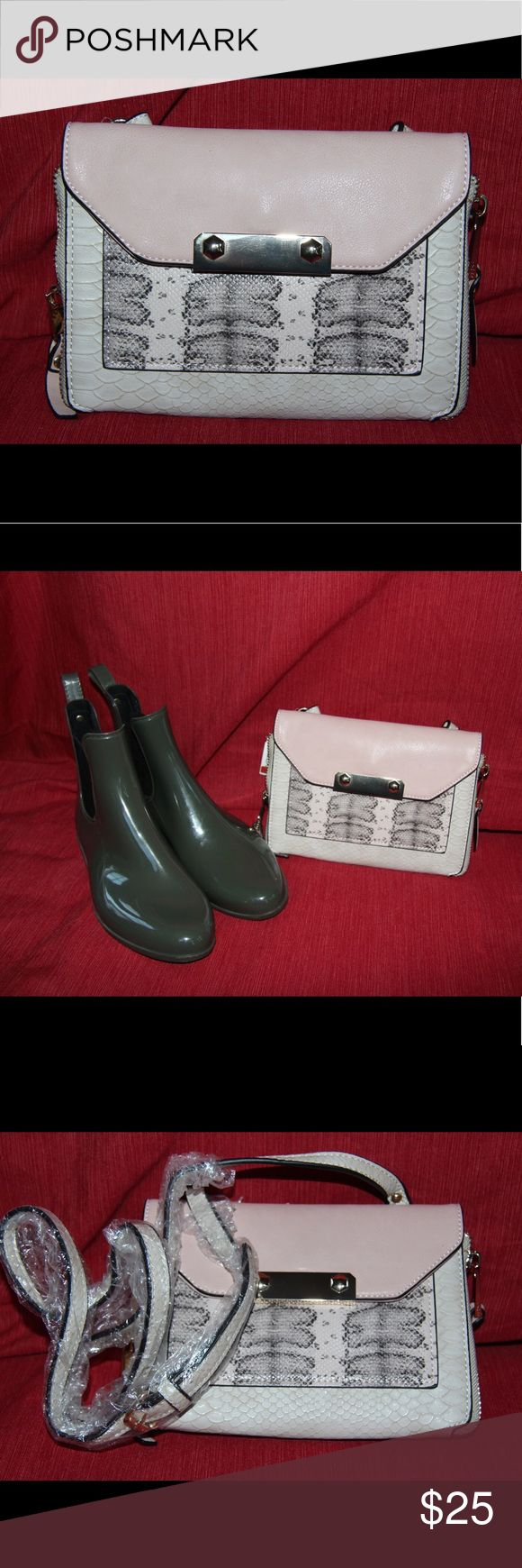"""NWT Aldo petite shoulder bag Bundle 2+ and get %15 discount!  Gentle and stylish shoulder bag by """"Aldo"""", new with tag!   Ankle rain boots are presented for size comparison. (Also available in my closet, Sam Edelman, size 8) Aldo Bags Shoulder Bags"""