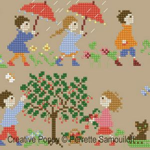 Perrette Samouiloff - Happy Childhood - Spring (large): cross stitch