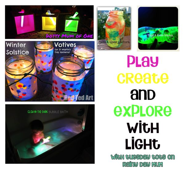 5 ideas to Play, Create and explore with light plus Tuesday Tots where over 100+ fun ideas for Tots are linked each week to give you even more inspiration