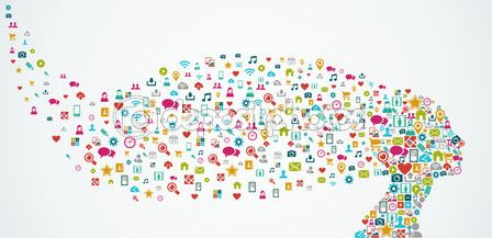 Human head shape social media icons composition. EPS10 file. — Векторная картинка #31517305