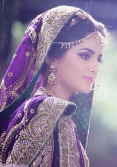 Pakistani bridal, purple, gold, jewelry