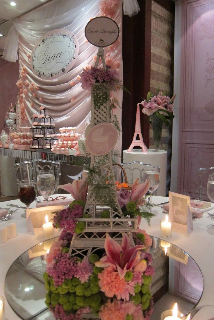 eifeel tower arrangements | This this Eiffel Tower as centerpiece.