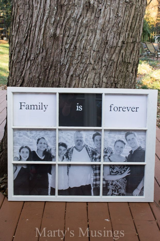 This DIY tutorial from Marty's Musings takes a cast off window and an engineering print sized family picture and turns them into an old window photo frame celebrating family.