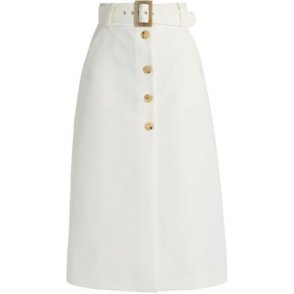 Bella Freud Fonda button-through cotton-blend cady midi skirt found on Polyvore featuring skirts, ivory, button midi skirt, shiny skirt, bella freud, flare skirt and ivory skirt