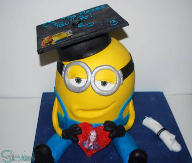 Minion cake with diploma and cap for Alyssa's graduation!