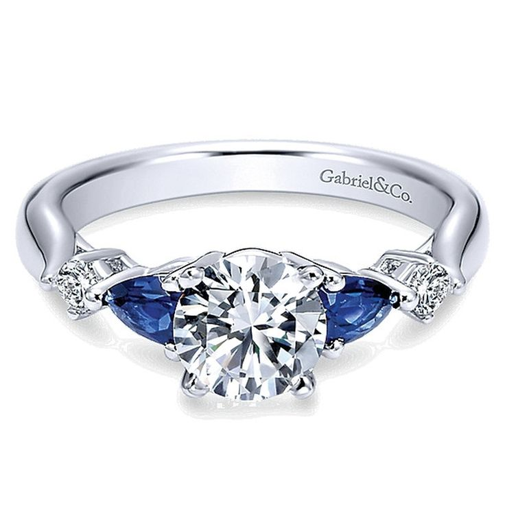 Gabriel and Co. Vintage Engagement Ring with Sapphire #ER6002W44SA